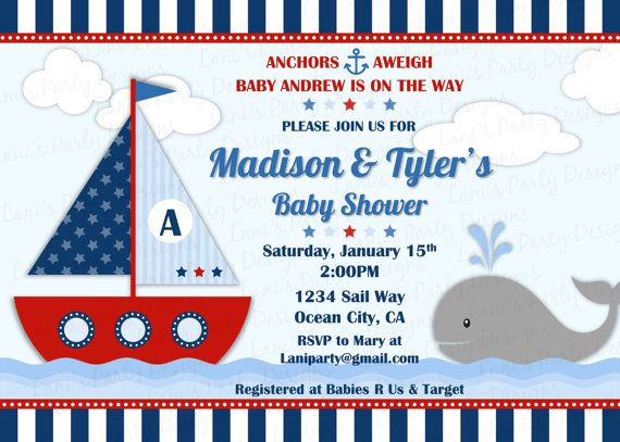 ahoy it's a boy sailboat invitation diy by lanispartydesigns, Baby shower invitations