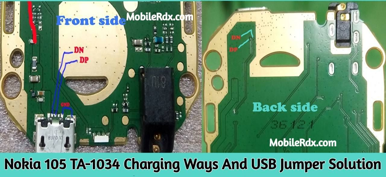 Nokia 105 Ta 1034 Charging Ways And Usb Jumper Solution Nokia Usb Smartphone Repair