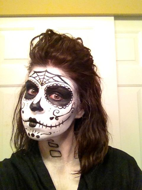 My halloween sugar skull Cheap Walmart paint and brushes and a