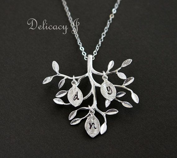 Family tree necklace, initial necklace, initial leaf jewelry, tree of life, mother necklace, new baby shower gift, personalized necklace