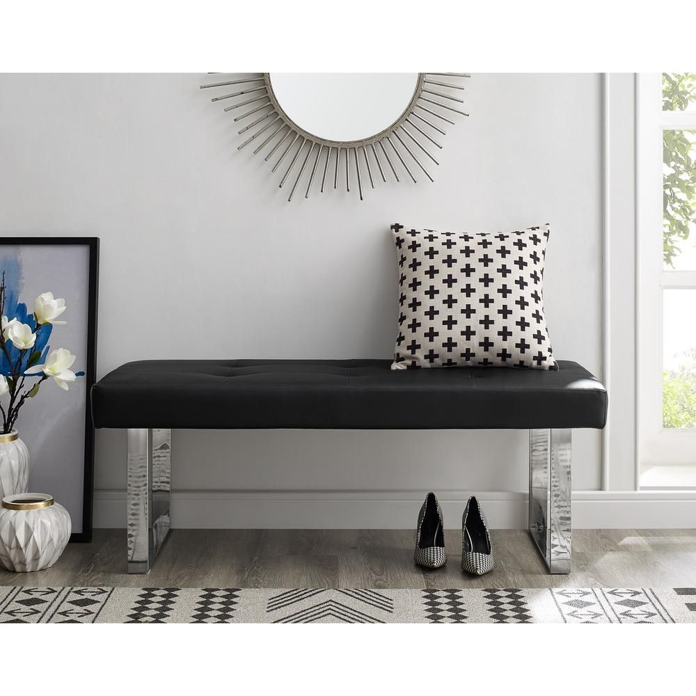 Inspired Home Alonso Black Chrome Pu Leather Bench Square Tufted Metal Leg Bh05 01bk Hd The Home Depot Leather Bench Upholstered Storage Inspired Homes