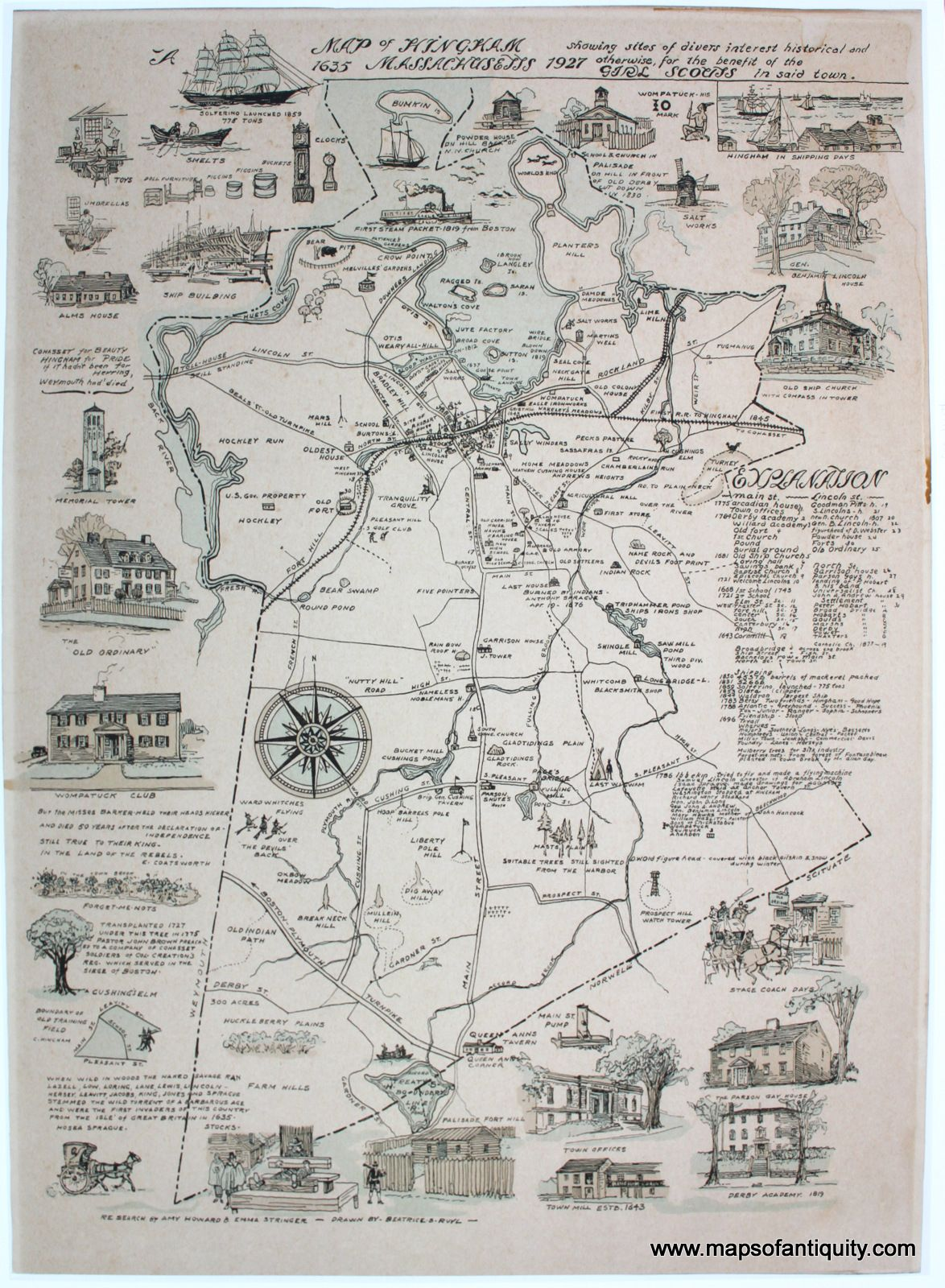 Map Of Hingham Machusetts 1635 1927 Antique Maps And Charts Original Vintage Rare Historical Prints Reproductions