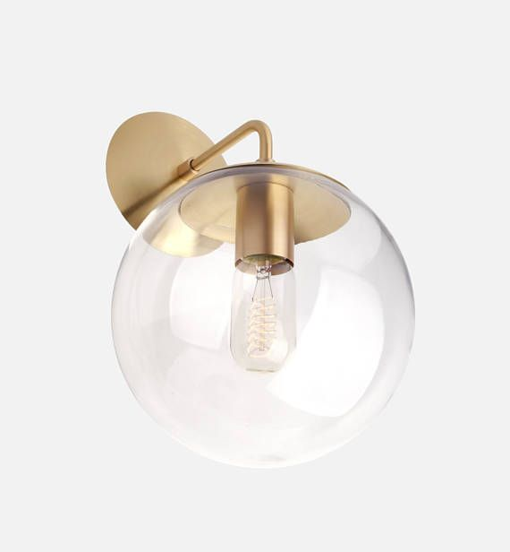 Mid Century Modern Clear Glass Globe Wall Sconce Light 8 Etsy Indoor Wall Sconces Rustic Wall Sconces Wall Sconce Hallway Glass globe wall sconce