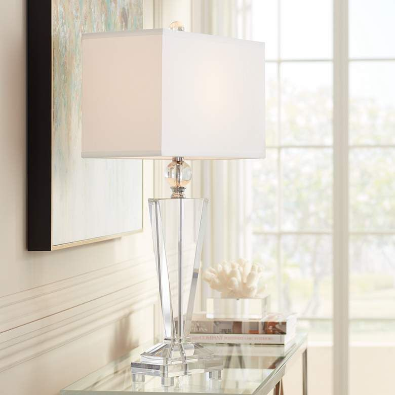 Emilia Crystal Table Lamp With Rectangular Shade Crystal Table Lamps Table Lamp Modern Table Lamp