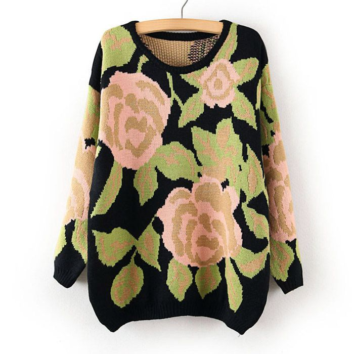 Vintage Scoop Neck Floral Print Thicken Long Sleeves Knitting Sweater For Women (GREEN,ONE SIZE) | Vintage Sweaters