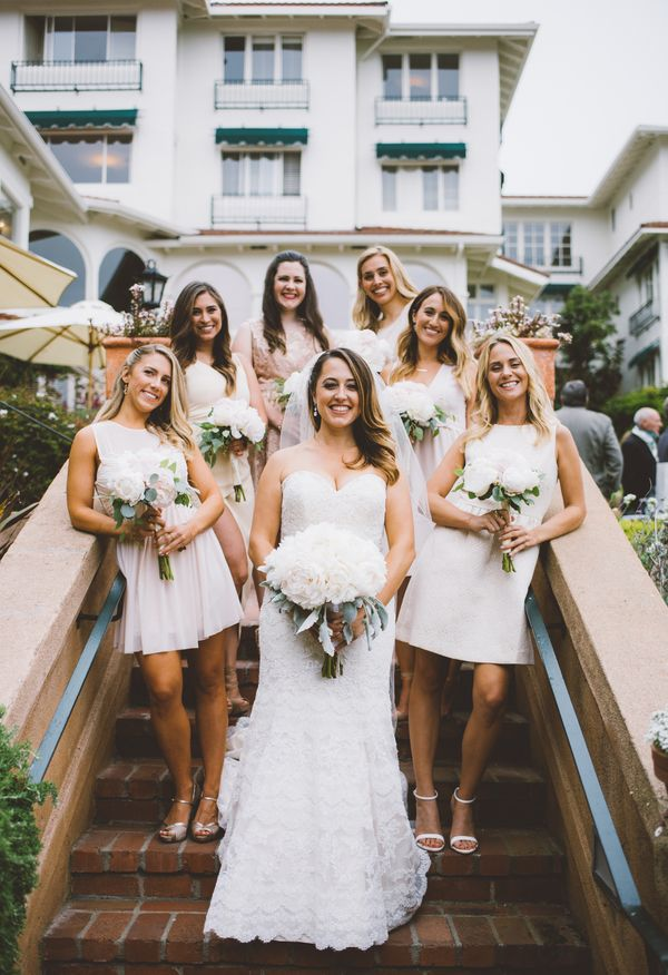 Sassy California-cool bridesmaids in short off-white dresses // Adriane White Photography