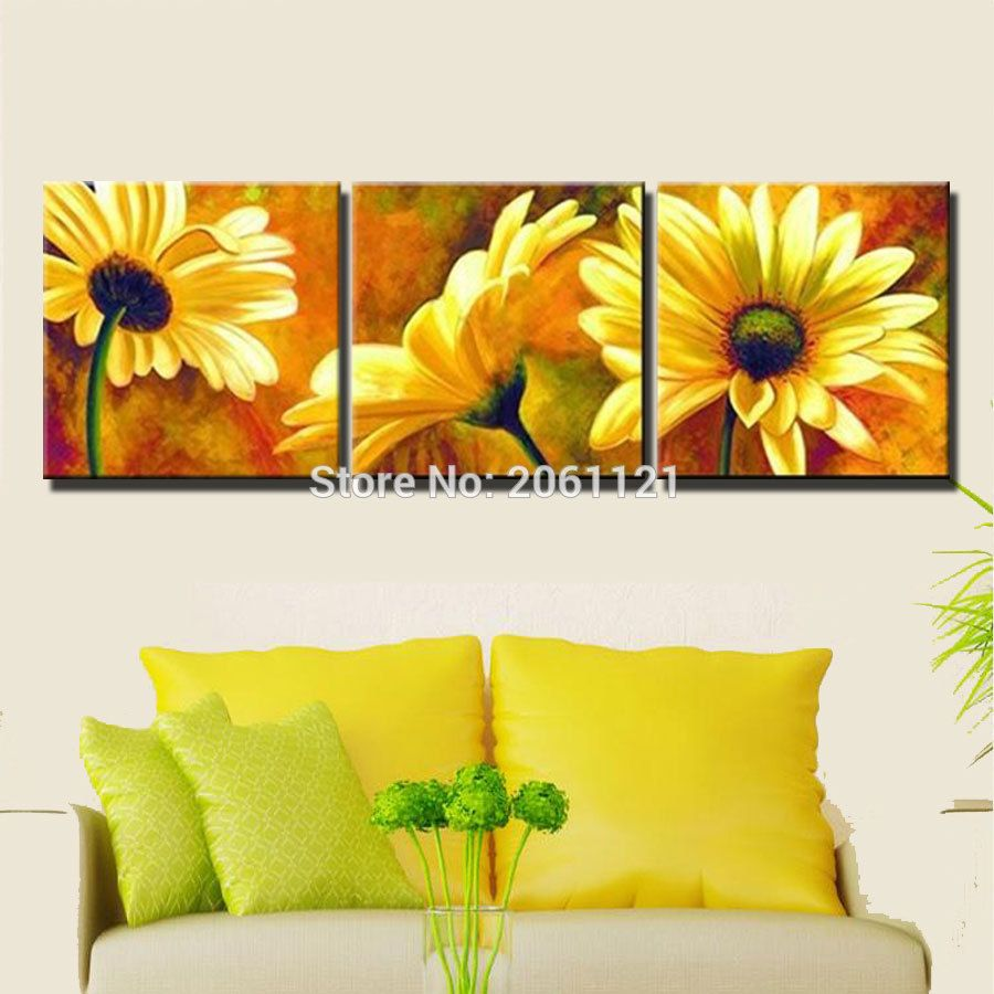 hand painted oil painting yellow flower canvas picture 3 pieces ...