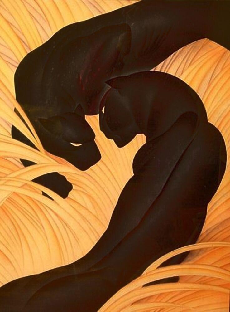 Black Panthers :  Major Felten  :  Art Print   Suitable for Framing :   Art Deco  for sale online