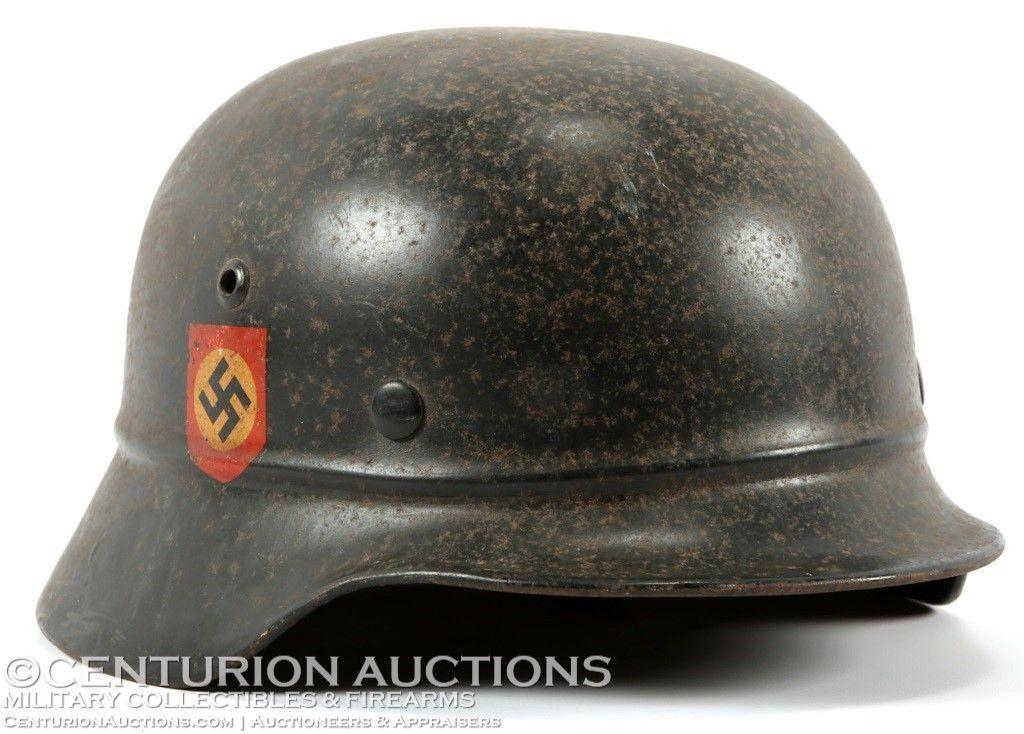 WWII M40 GERMAN POLICE DOUBLE DECAL HELMET   Headgear   Military