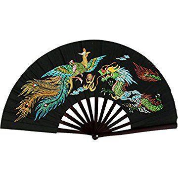 Bamboo Kung Fu Fighting Fan Dragon And Phoenix (Black) | ninja