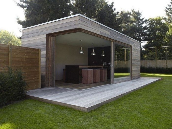 Modern tuinhuis overkapping buitenkeuken veranda hout