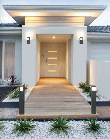 Patio lighting ideas modern entrance front yard house also pin by mp on home exterior rh pinterest