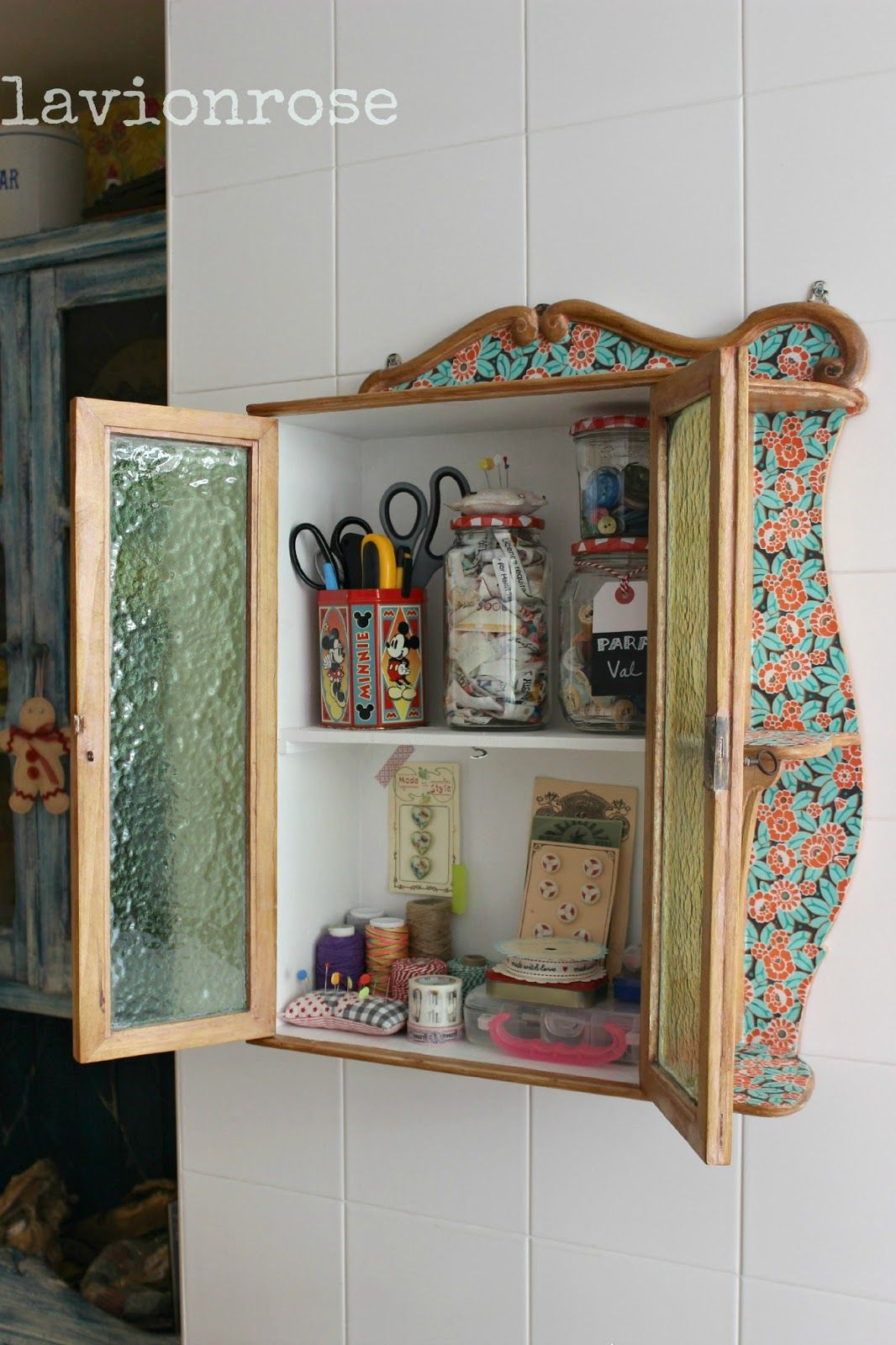 old cabinet with fabric | moveis forrados com tecido/furniture ...