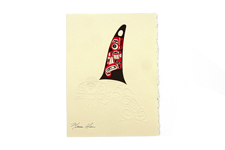 Killer Whale, Marvin Oliver, Dry Ink Stamp Print, Native American ...