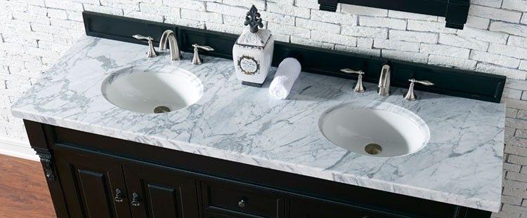 James Martin Double 72 Inch Carrara White Marble Countertop