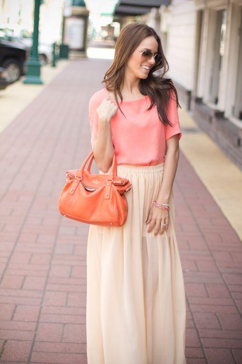 Blush maxi skirt (must make) + coral