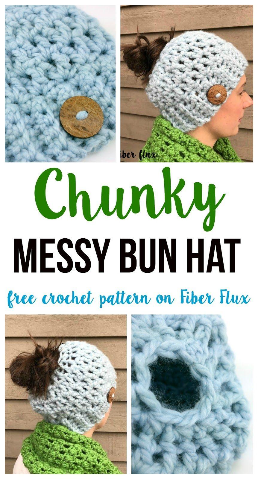 Messy Chunky Beach Waves Easy Tutorial: Free Crochet Pattern...Chunky Messy Bun Hat!