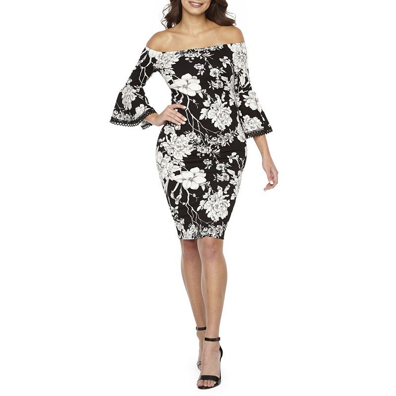 5ea05083d1c5 Premier Amour 3/4 Sleeve Off The Shoulder Floral Sheath Dress ...