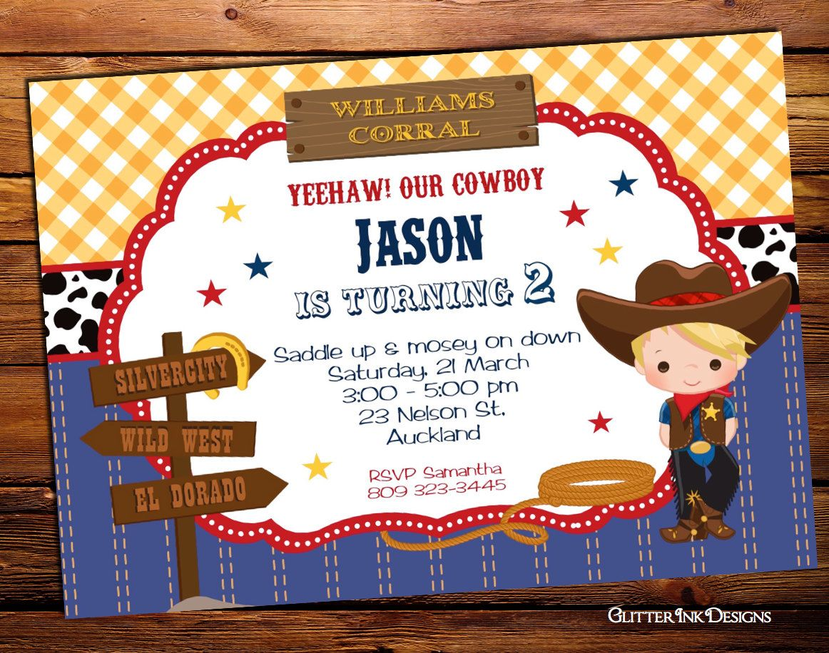 Wild west cowboy birthday party invitation - printable digital PDF ...
