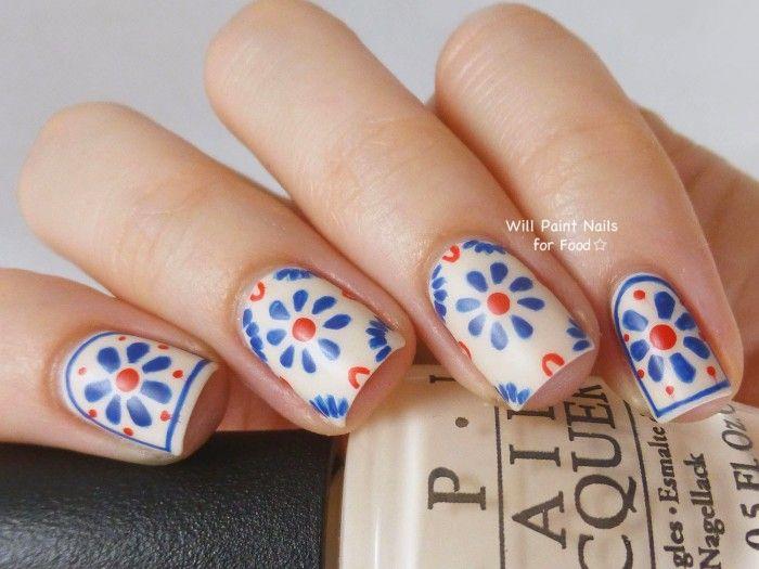 Nails of the Day: Talavera Tiles   Uñas mexicanas, Diseños de uñas y ...