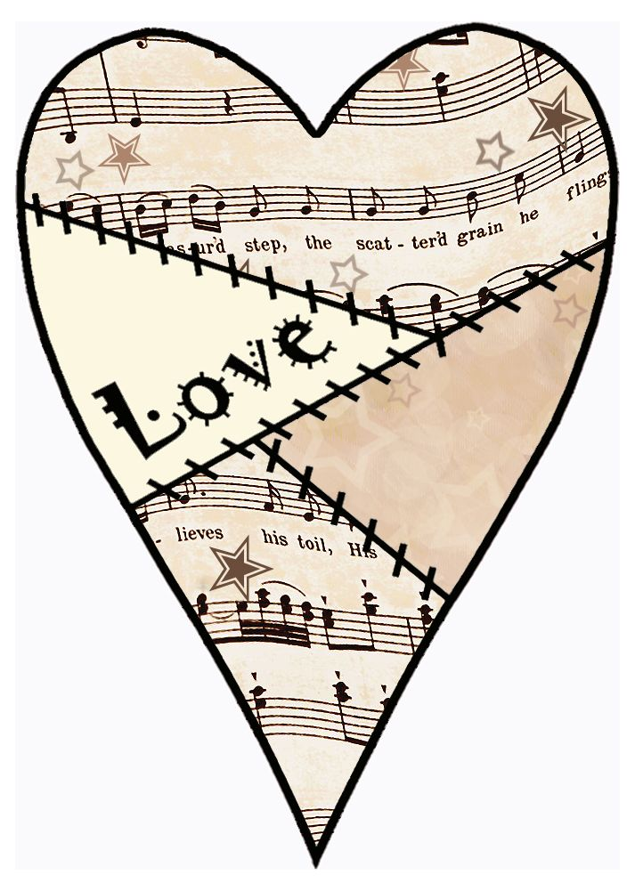 Decoupage love heart prints - From the Vintage Sheet Music ...