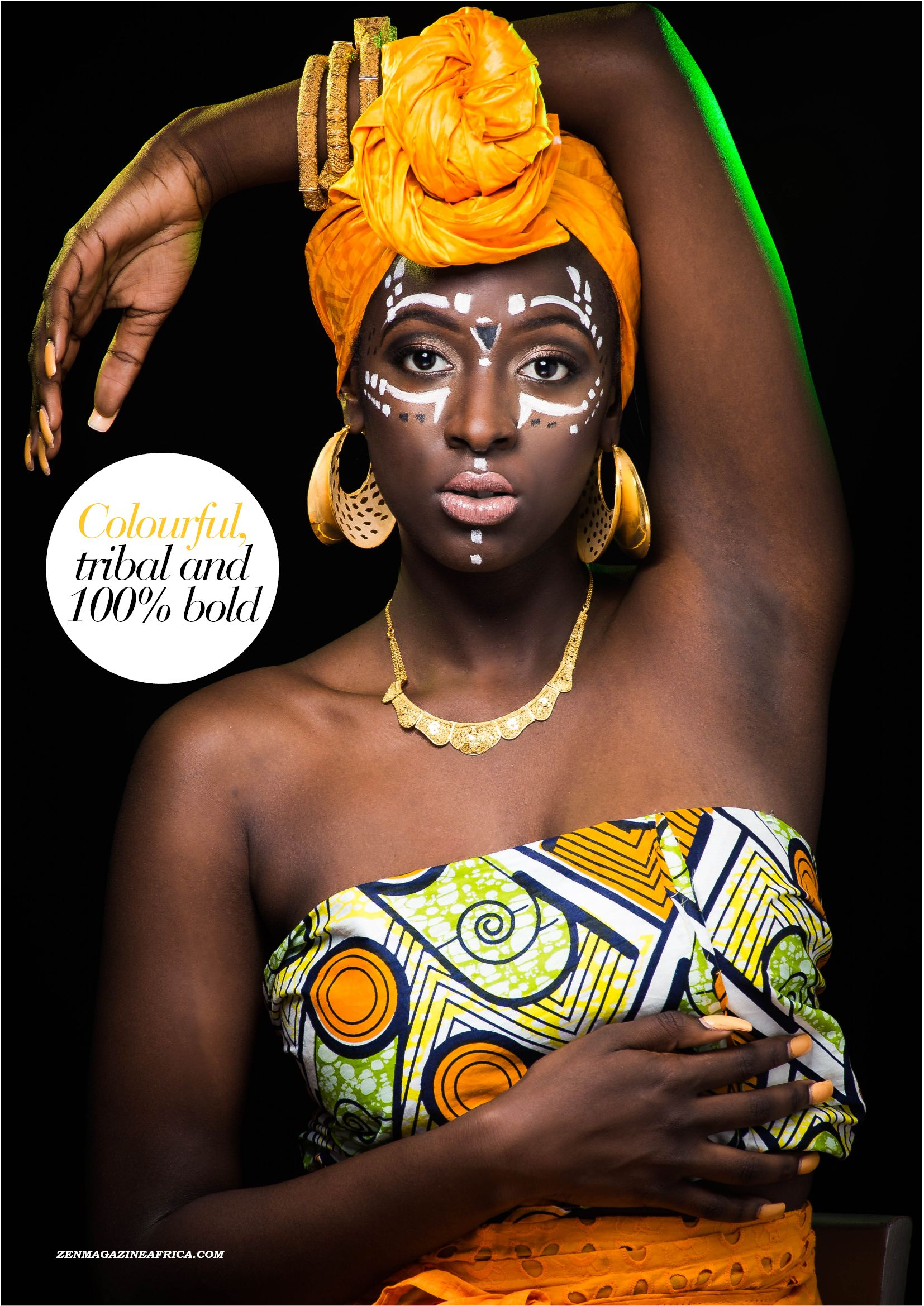 """It's tribal makeup with bold headwraps, prints, accessories and all inspired by the music single """"Shoki"""" by Lil Kesh. Photographed by Allen Stewart."""
