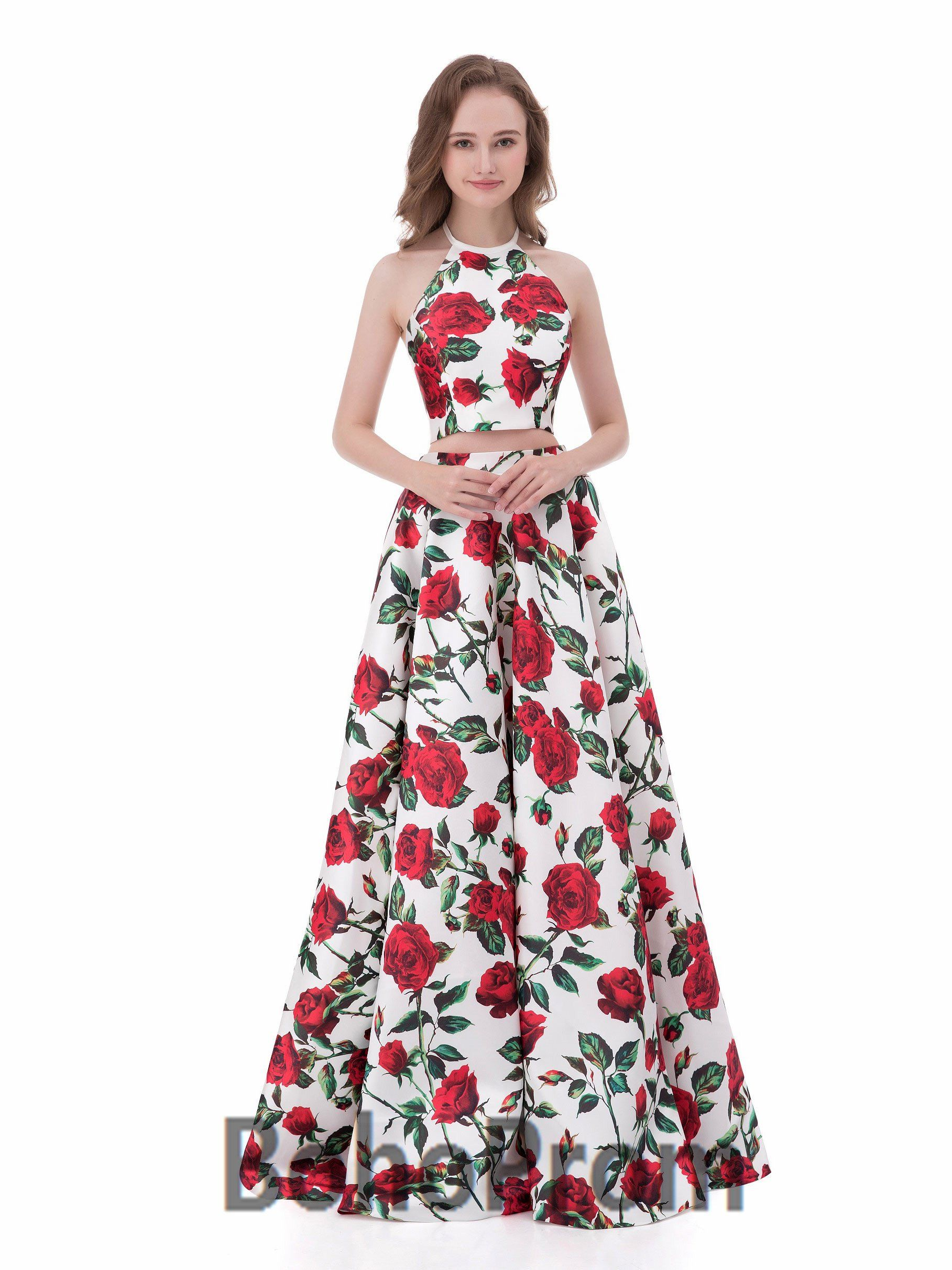 Aline halter floorlength satin two piece prom dresses satin