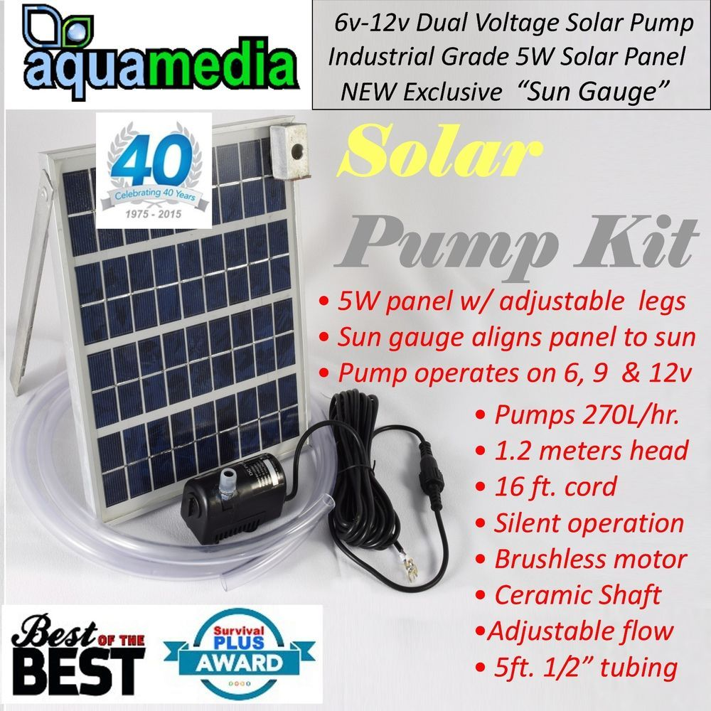 Solar Panel Water Pump Kit Fountain Pool Garden Pond Submersible Industrial Aquamedia Solar Water Pump Solar Panels Solar Pond
