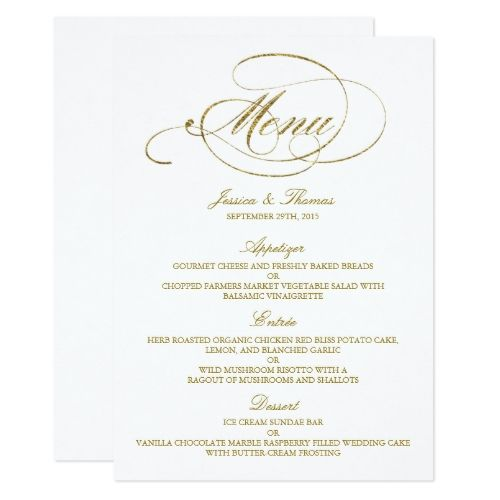 Chic Faux Gold Foil Wedding Menu Template | Wedding Menu Template