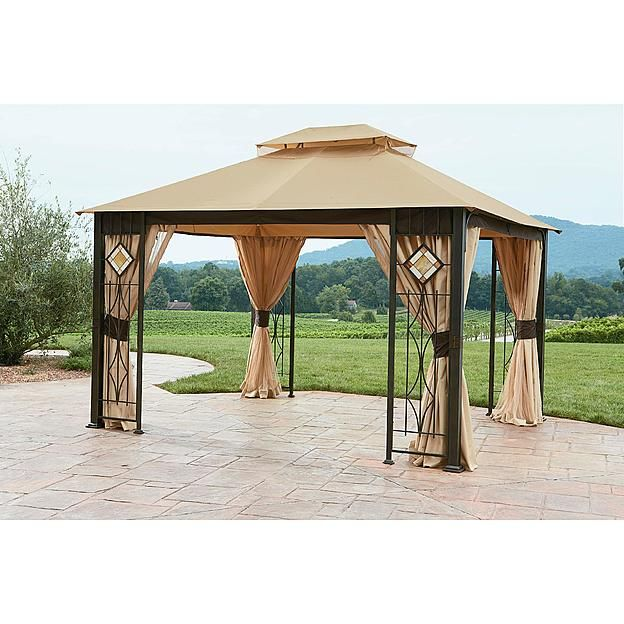 Grand Resort 10x12 Gazebo With Art Glass Panels Sears