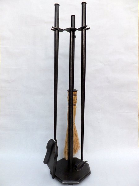 Hand Forged Fireplace Tools Set Octagon Style Blacksmith