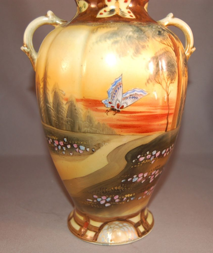 Art deco imperial nippon hand painted butterfly scenic vase art deco imperial nippon hand painted butterfly scenic vase gorgeous colors reviewsmspy