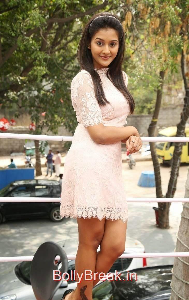 Actress Pooja Jhaveri Hot Hd Pics in Short Peach Dress