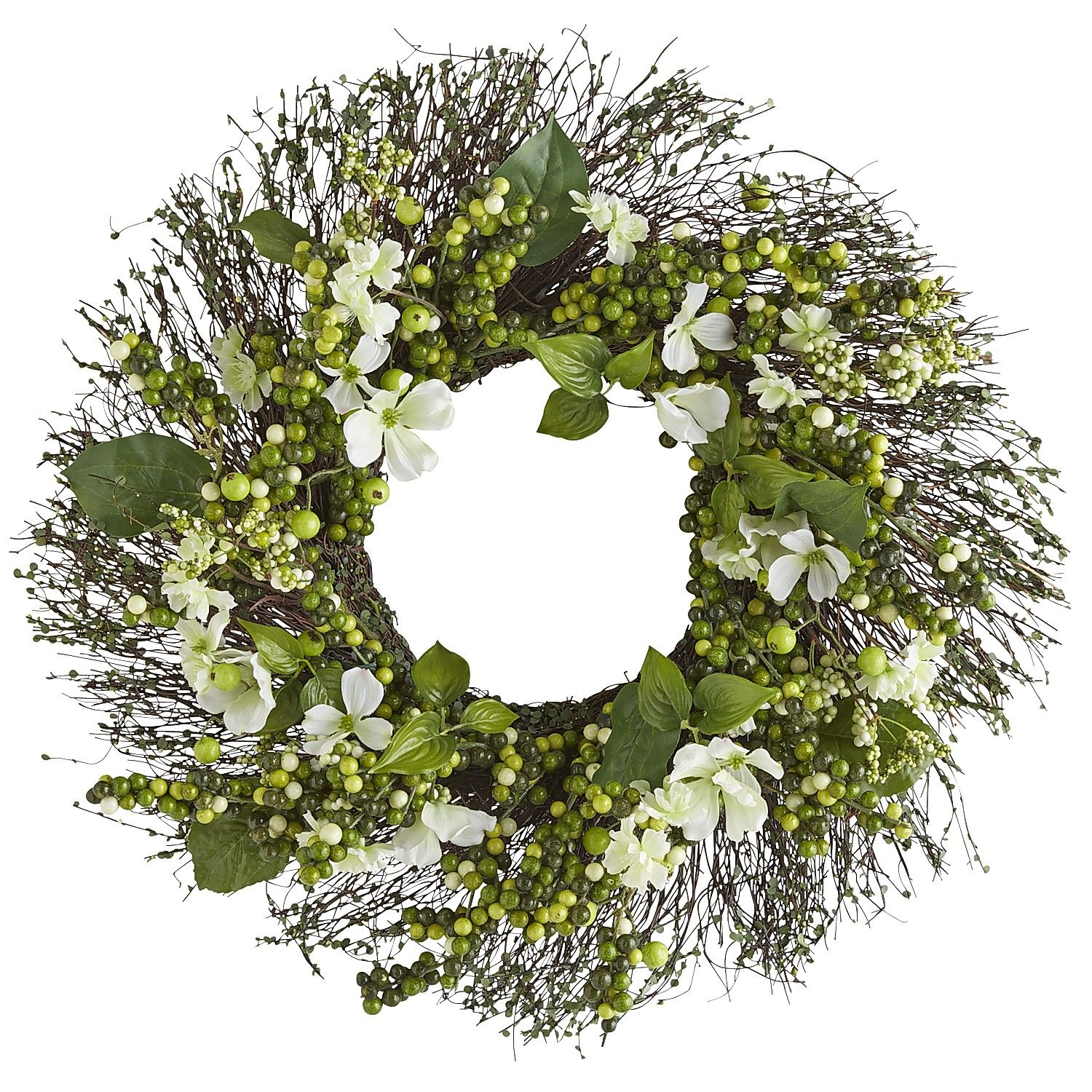 Artificial Daisy and Dogwood Wreath Puleo International 24 in Green