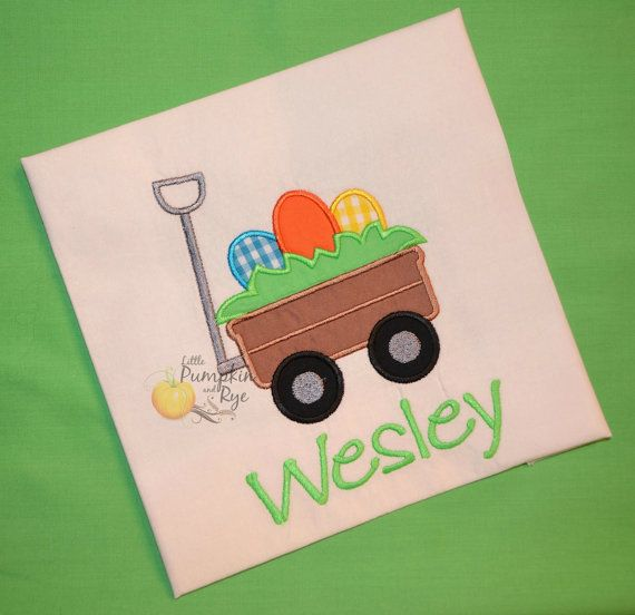 Personalized Easter Egg Wagon Applique by LittlePumpkinandRye