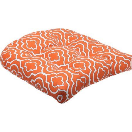 Pillow Perfect Outdoor/ Indoor Starlet Mandarin Wicker Seat Cushion (Set of 2), Orange