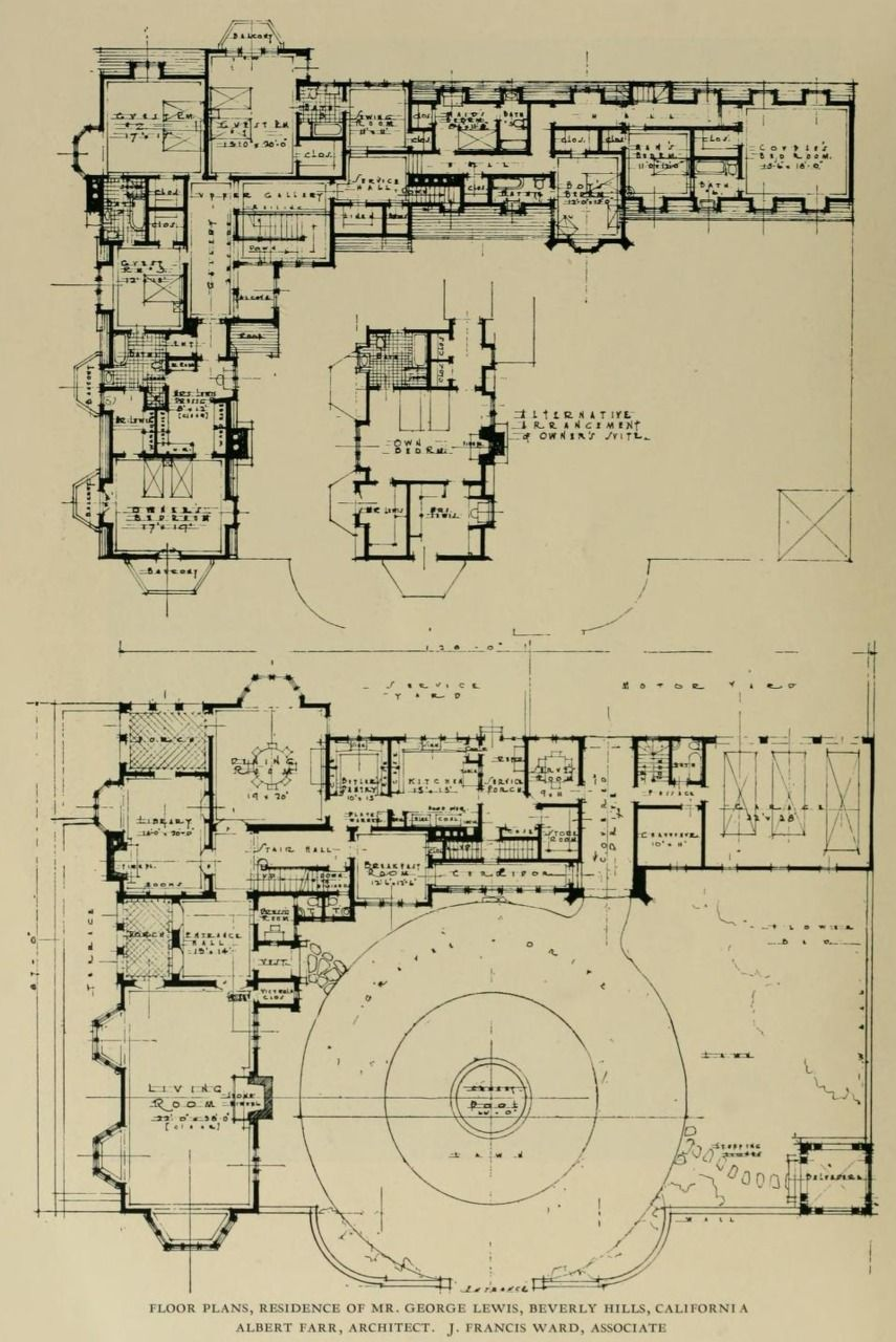 Floor Plans Of The Residence Of Mr George Lewis In