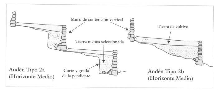 Figura 3.6. Diagrama informativo de andenes de Tipo 2 (Huari): perfiles esquemáticos transversales de ejemplos con corte y grada (2a) y ladera (2b), con diferentes estilos de muro de contención.