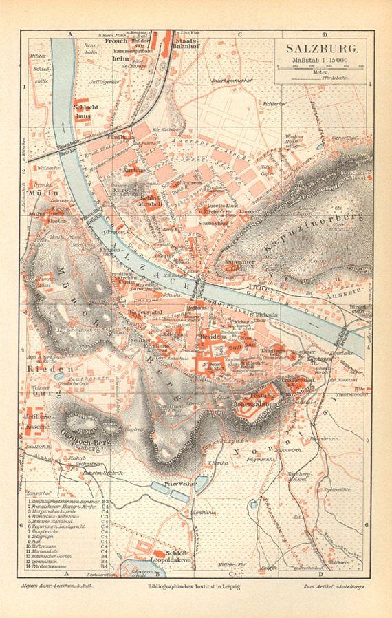 1897 vintage city map of salzburg austria city maps salzburg and 1897 vintage city map of salzburg austria gumiabroncs Gallery