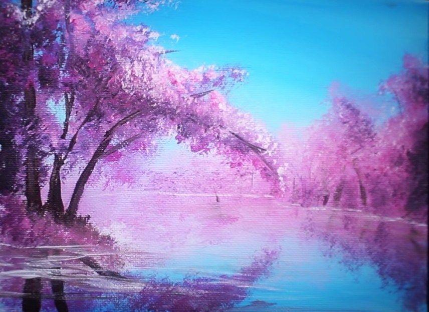 Peindre un cerisier en fleurs en 10 minutes   Tutoriels de peinture de toile, Peinture paysage ...