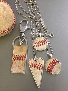 Photo of Used Baseball Leather Pendant Necklace, Baseball Heart Pendant Silver Necklace, Round Baseball Leather Pendant, Baseball Mom Gift,Sport Gift