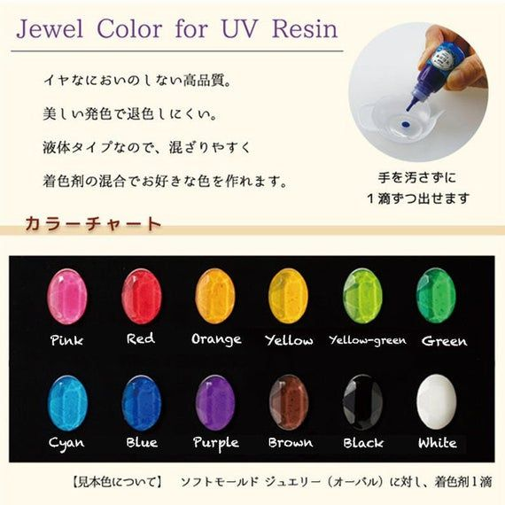 This listing is for purchasing a SET of 12 colors. To purchase individual colors, proceed to: Coming soonSize: 10g per bottleBrand: PadicoFeatures1. Just a few drops, it will add vibrant colours to your UV resin mixture. 2. The more you add, the more opaque the hue will be. 3. When mixed with UV craft resin solution, it can be used as a coloring agent4. Can be hardened with UV lamp or LED lampCuring timing (estimated):LED lamp: 1 to 2 minutesUV lamp: 2 to 5 minutesSunlight: 5 to 30 minutes, depe