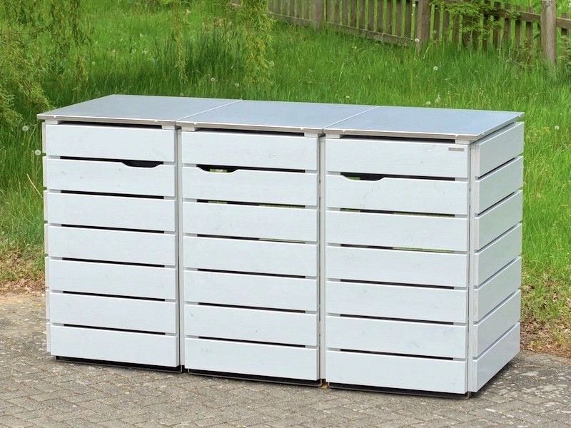 3er m lltonnenbox edelstahl holz deckel f r 120 l 240 l m lltonnen oberfl che decken. Black Bedroom Furniture Sets. Home Design Ideas