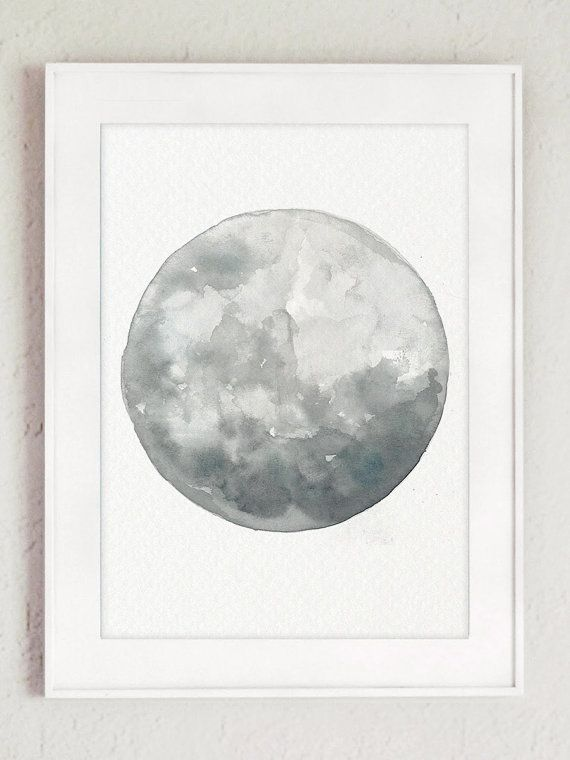 Moon Phases 5 Halloween Canvas Prints Set Full Moon Painting