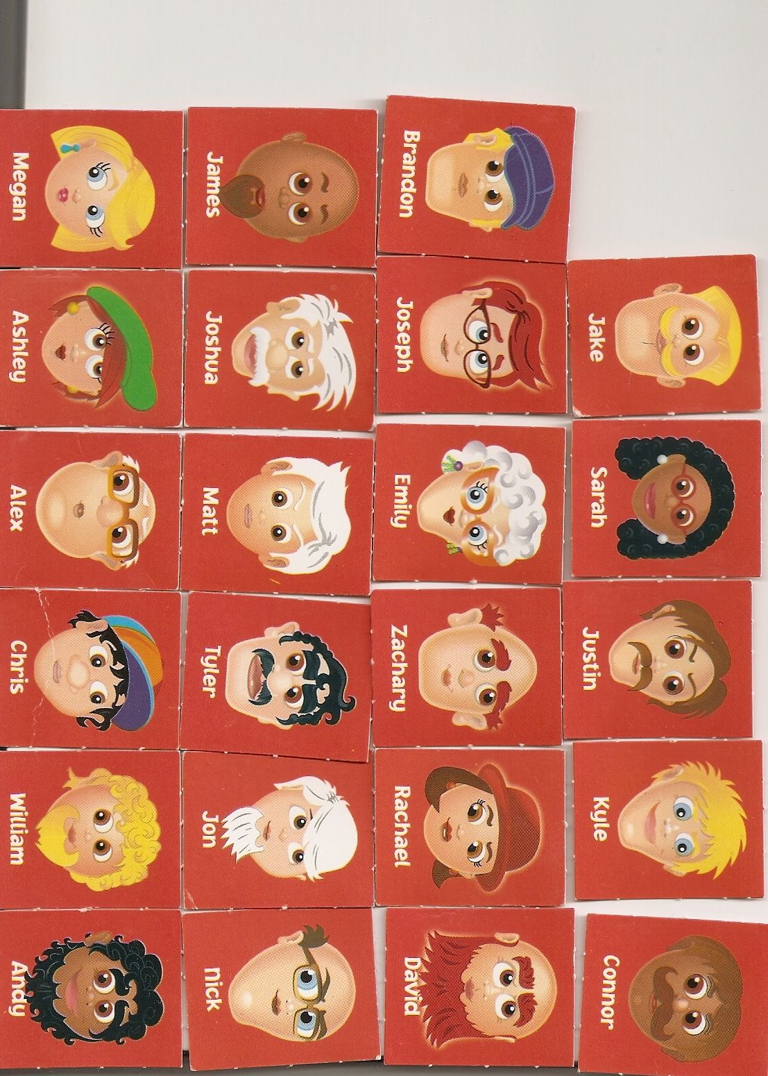 Red cards for Adivina Quien. Play guess who as a classroom