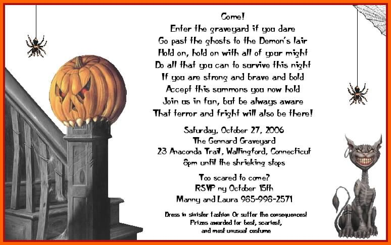 Spooky halloween invitations pinteres halloween invitation wording stopboris Image collections
