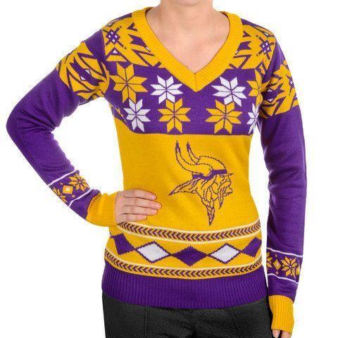 Minnesota Vikings Womens Official Nflbig Logo V Neck Sweater By