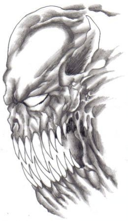 Demonic Art How To Draw A Scary Demon Scary Drawings Demon Drawings Evil Skull Tattoo