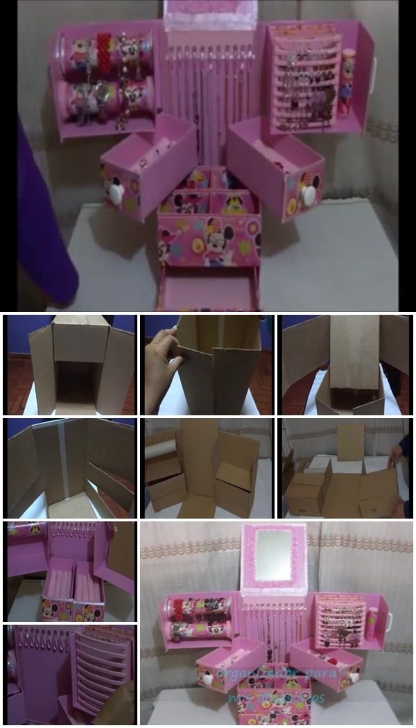 How To Make Cardboard Accessories Organizer Diy Makeup Organizer