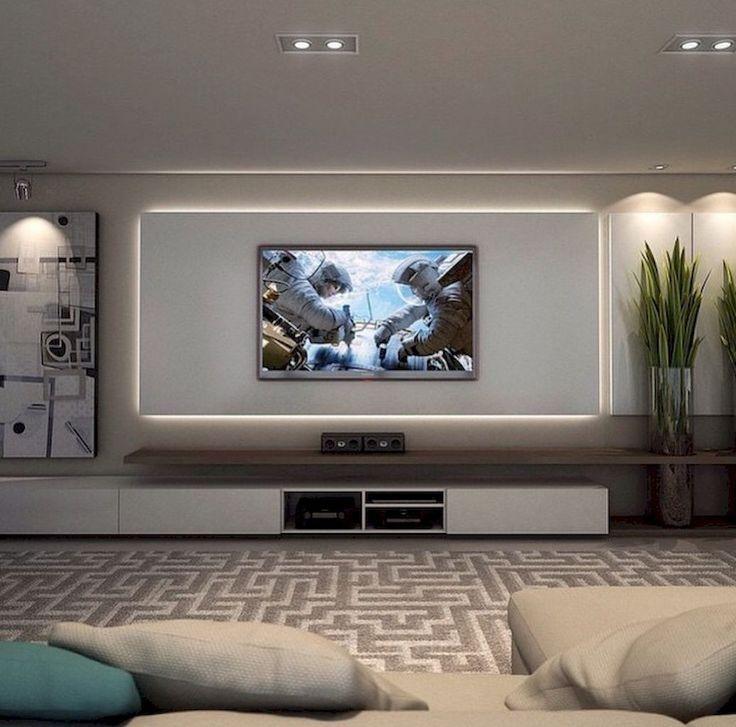 Inspirierte TV Wand Wohnzimmer Ideen (45) Haus Dekoration Pinterest